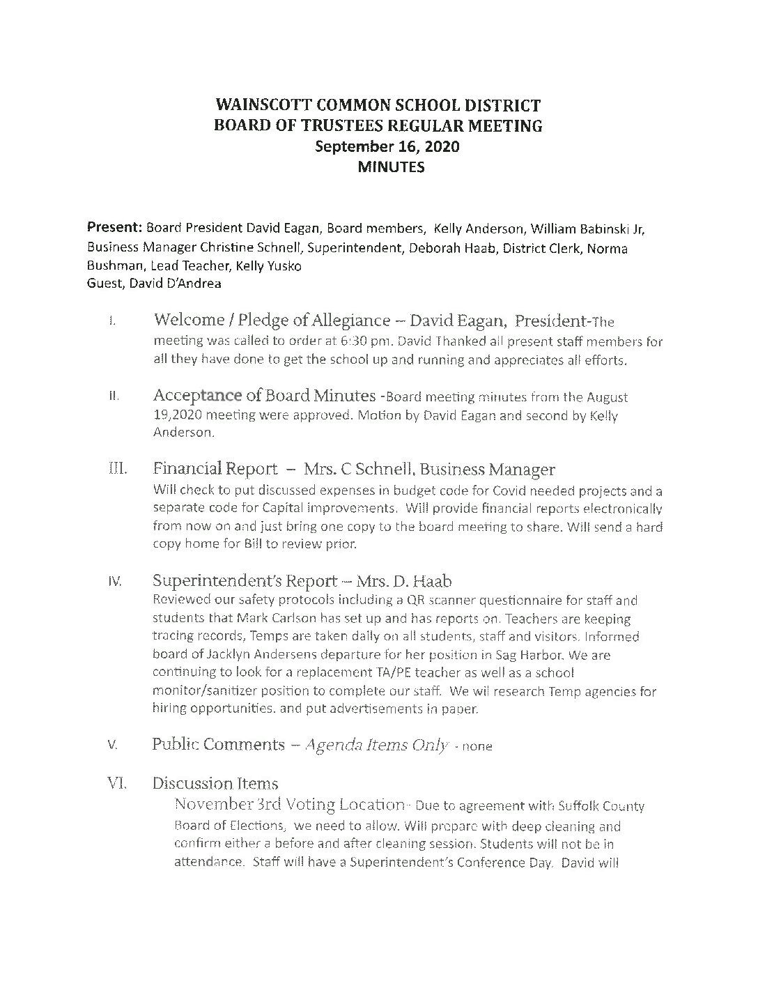 September 16, 2020 Board Meeting Minutes