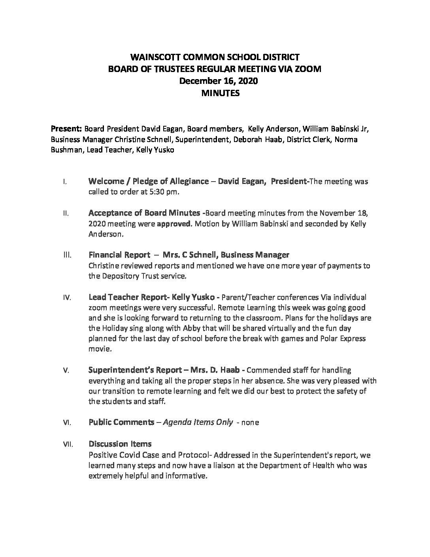 December 16, 2020 BOT Meeting Minutes